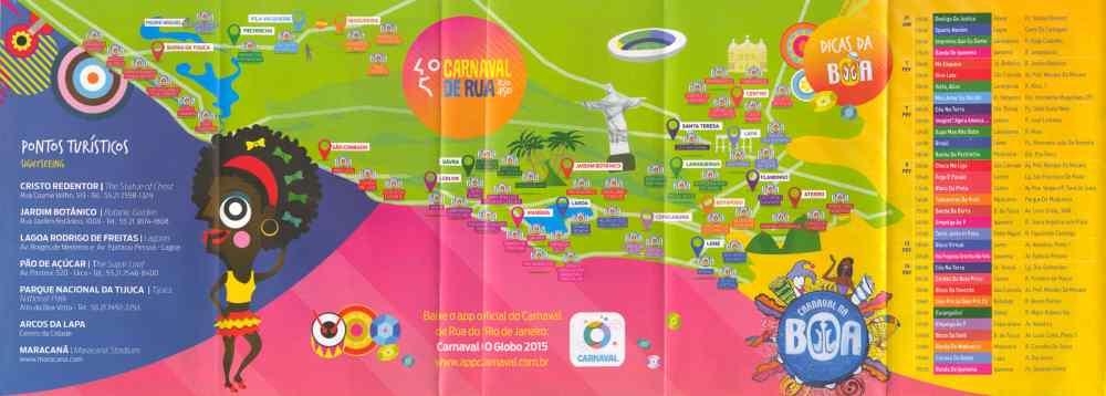 carnaval rio de janeiro, kaart met toeristische attracties