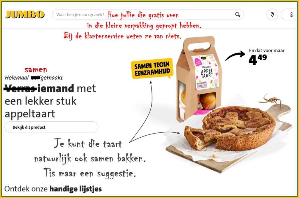 Afbeelding: supermarkt Jumbo biedt een kant en klaar appeltaartpakket aan, samen bakken tegen eenzaamheid.