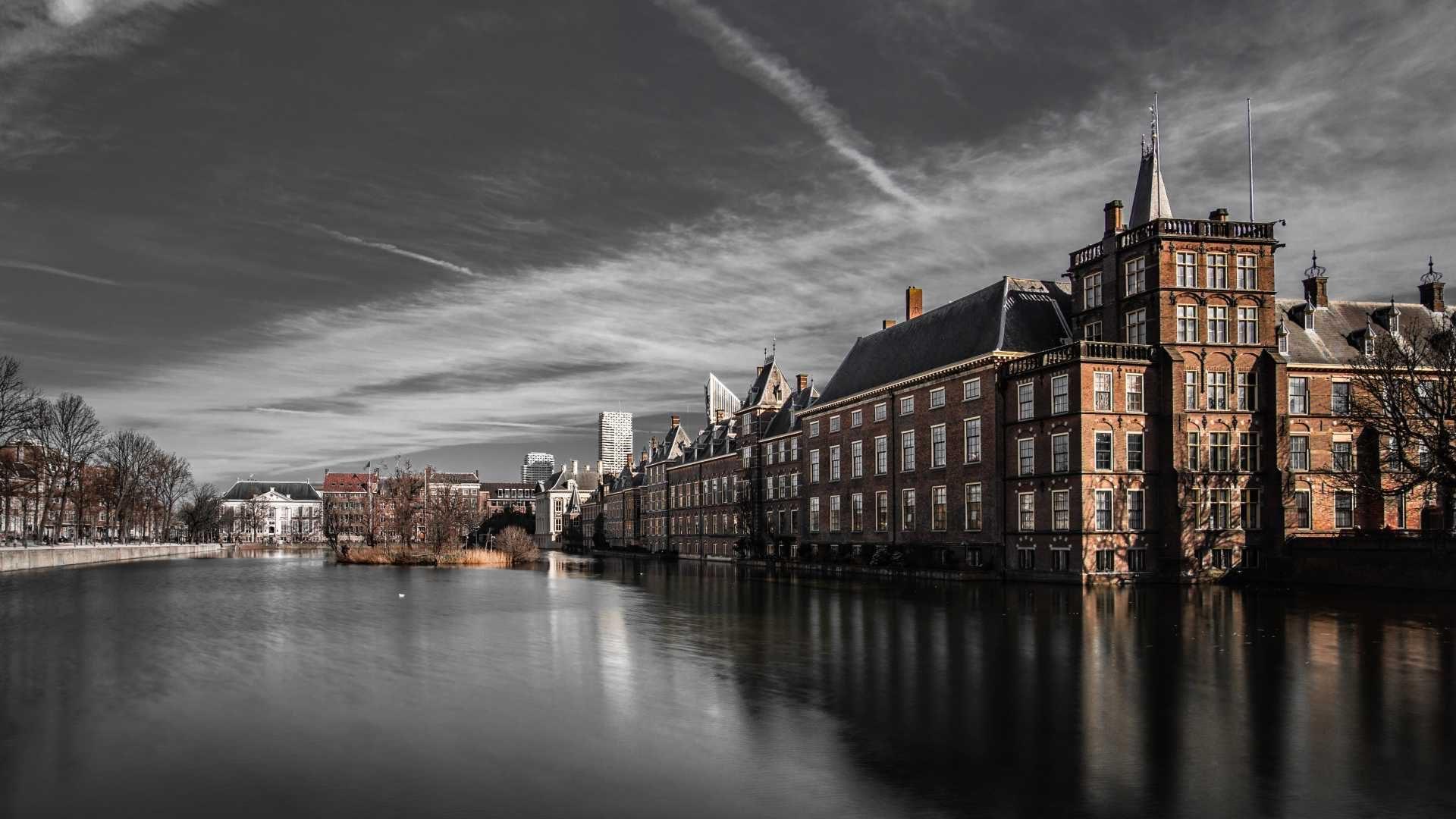 Hofvijver en torentje, Binnenhof, Den Haag