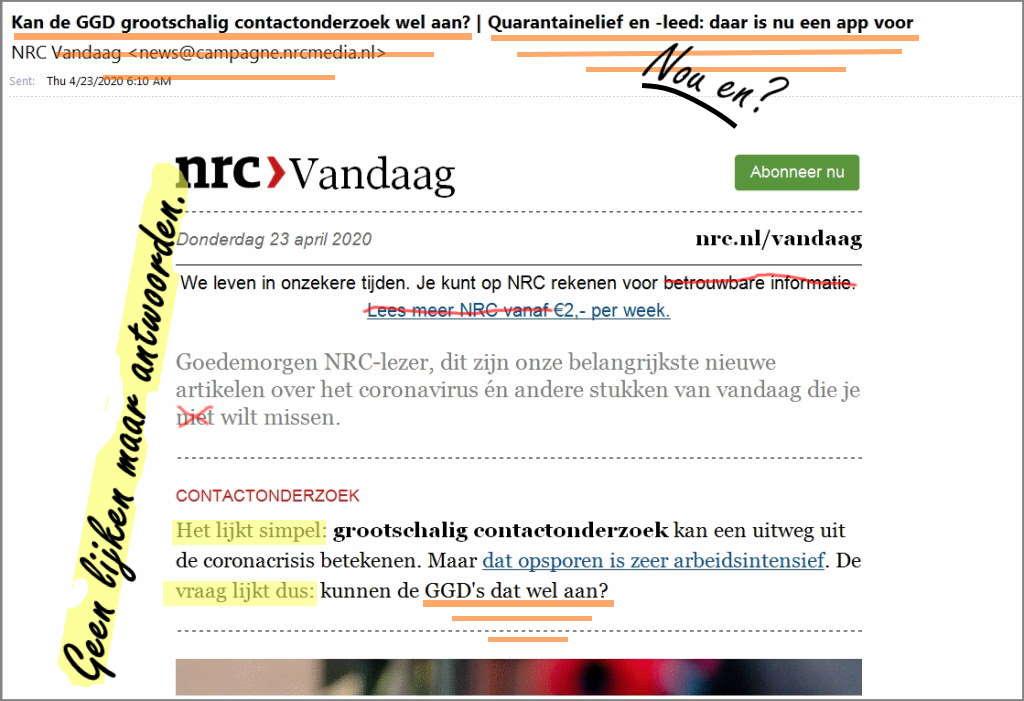 Afbeelding: nieuwsbrief NRC met slecht gekozen en onbehoorlijk geschreven, suggestieve en misleidende koppen.