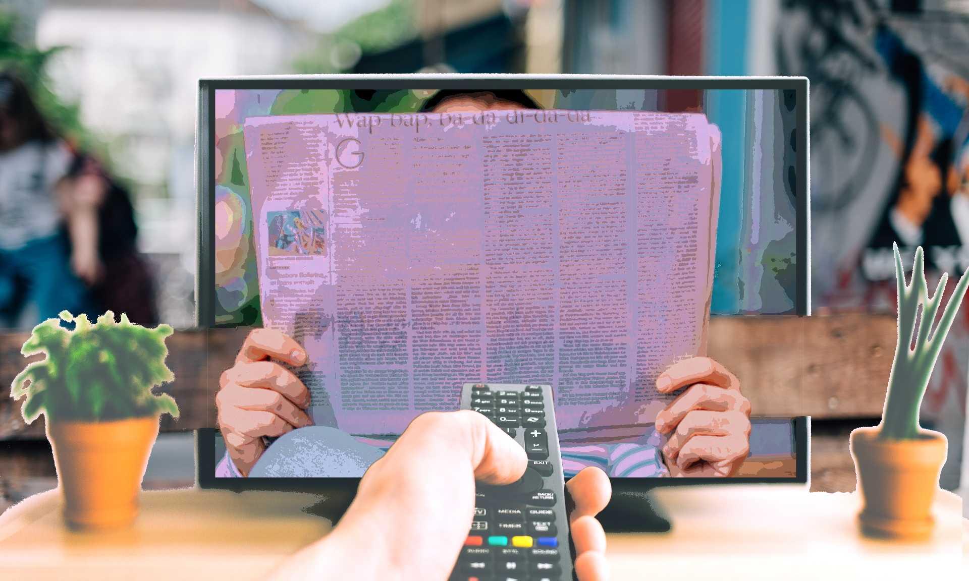 afbeelding: tv zappen krant lezen doorkijkscherm