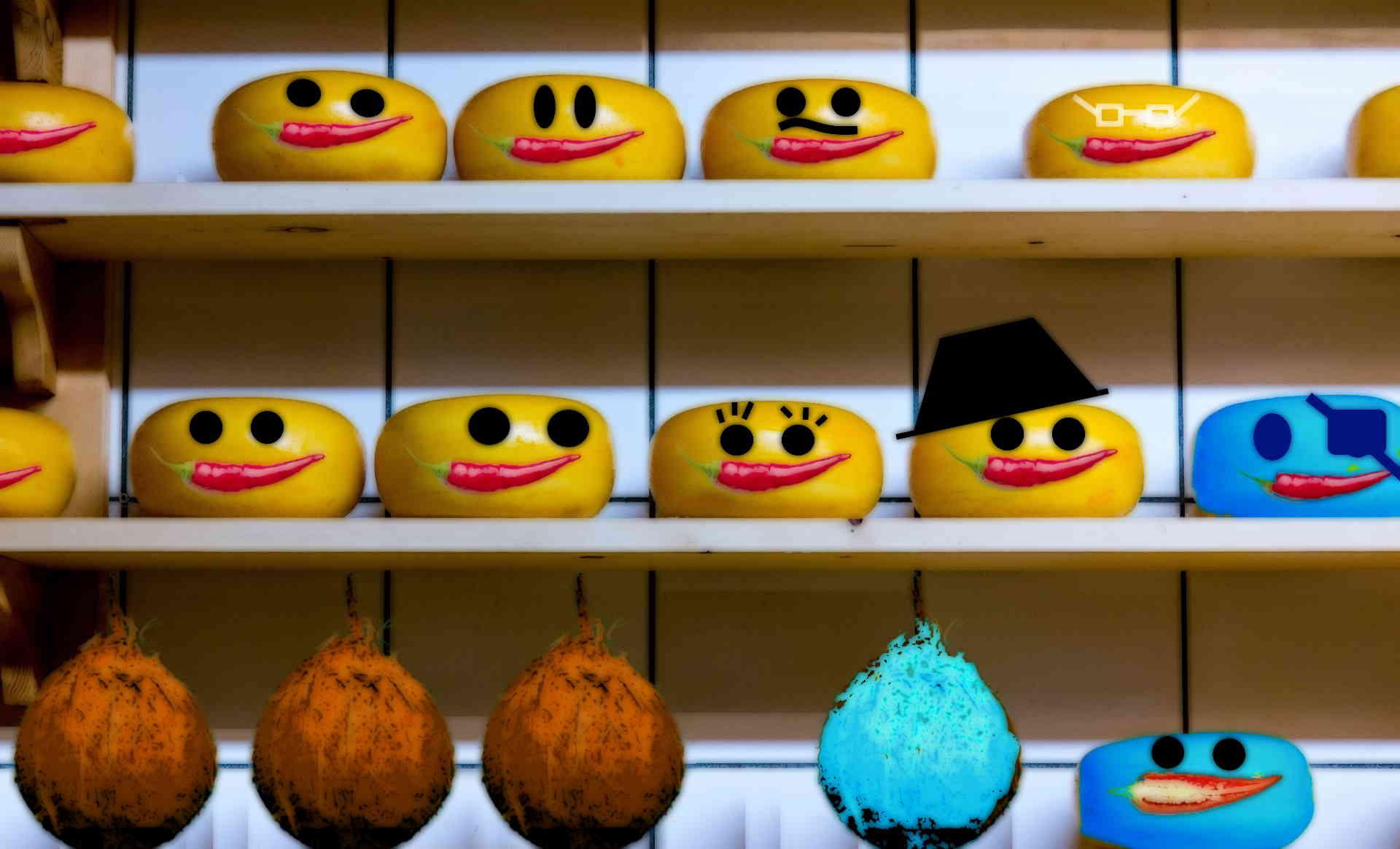 afbeelding: kaas op de plank in jumbo geel en albert heijn blauw met kokosnoten