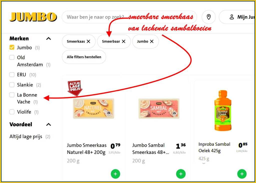 Image: Jumbo supermarkt webshop met prijzen smeerkaas met en zonder sambal, huismerk