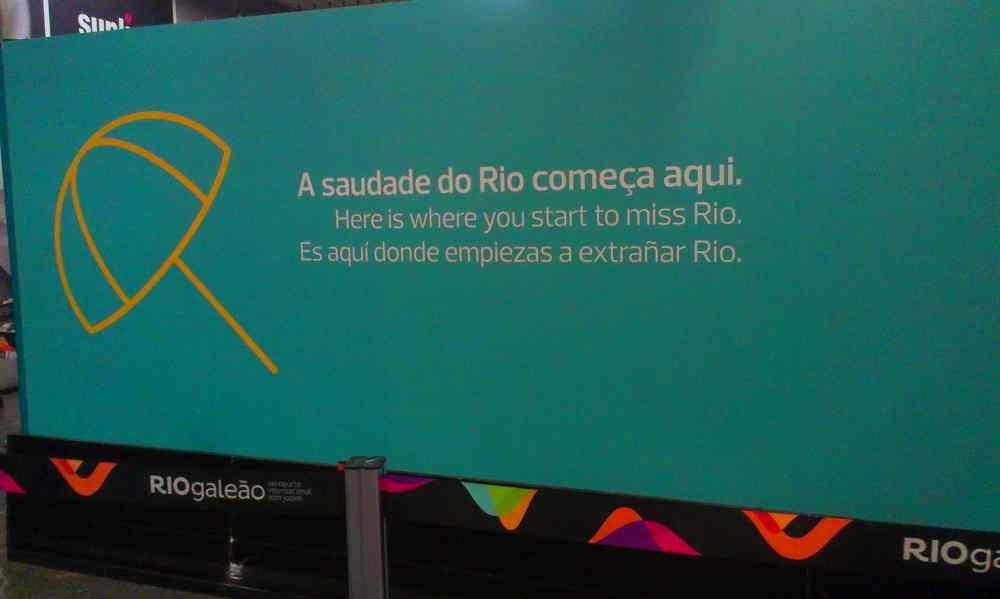 vliegveld rio de janeiro: Vanaf hier zul je Rio gaan missen. A saudade do Rio comeca aqui.