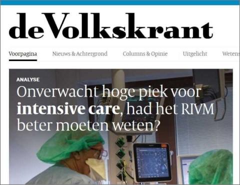"""Afbeelding: Speculatieve kop in de Volkskrant. """"Had het RIVM beter moeten weten?"""""""