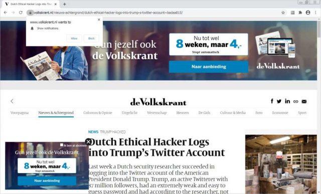 Afbeelding: schermafdruk Volkskrant Engelstalig artikel Trump Twitteraccount gehackt.